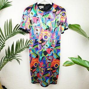 NWT Vtg A.J.BARI   Silk Sequin Colorful Dress sz 6